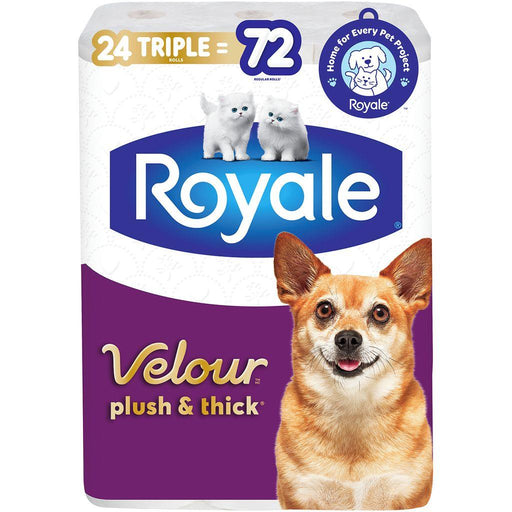 Royale Velour Plush & Thick Toilet Paper, 24 Triple = 72 Regular Rolls Royale Couryah
