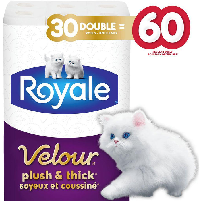 Royale Velour Plush & Thick Toilet Paper, 30 Double = 60 Regular Rolls Royale Couryah