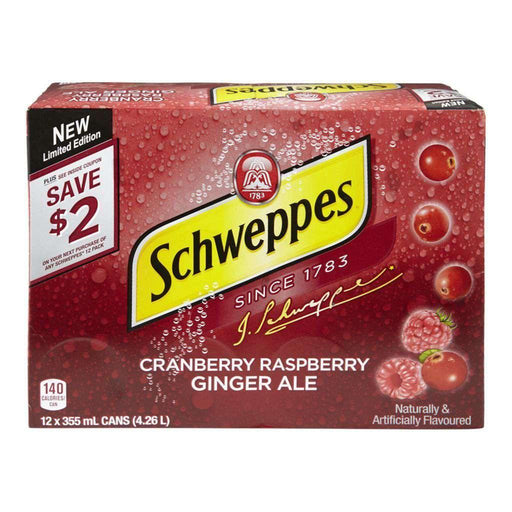 Schweppes Cranberry Raspberry Ginger Ale Case (12 x 355 mL) Schweppes Couryah