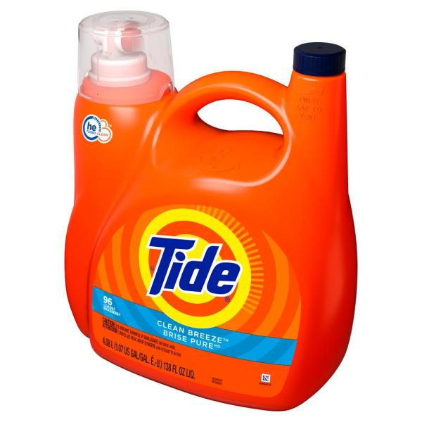 Tide Liquid Laundry Detergent, Clean Breeze, 96 Loads 4.08L