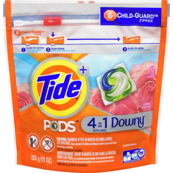 Tide Pods 4 in 1 Downy April Fresh Liquid Laundry Detergent, 12 Pacs 328 g