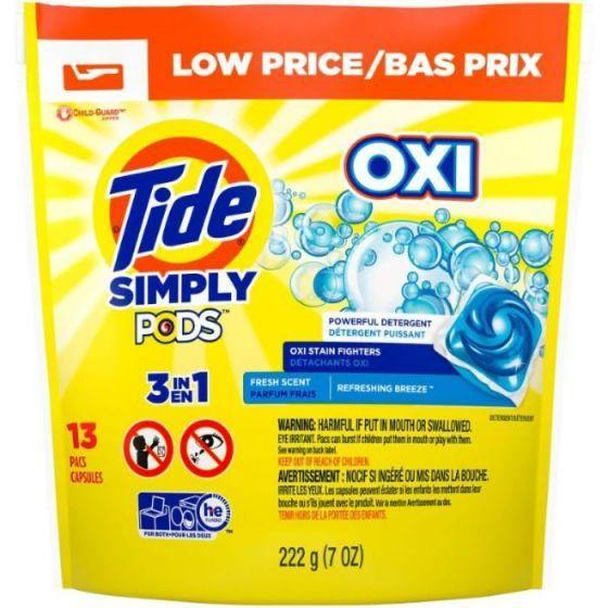 Tide Simply Pods 3 in 1 Oxi Liquid Laundry Detergent, 13 Pacs 222 g