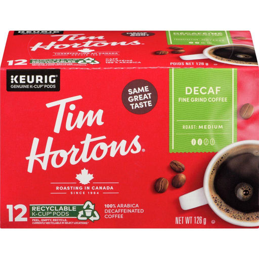 Tim Hortons Decaf Fine Grind Coffee K-cup 12 Each 126 g Tim Hortons Couryah