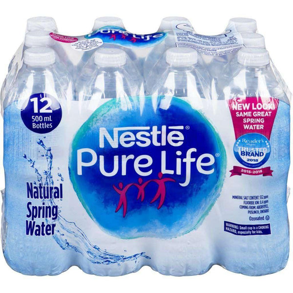 Nestle Pure Life Natural Spring Water Case, 12 x 500 mL