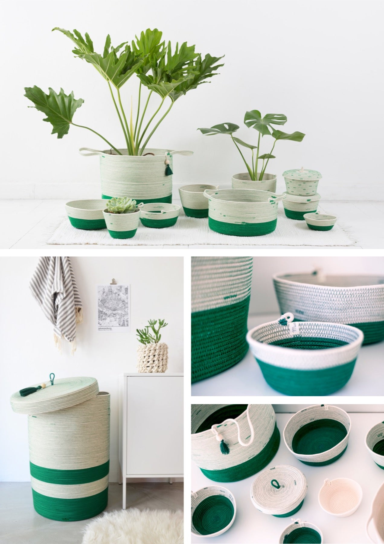 Green cotton rope baskets