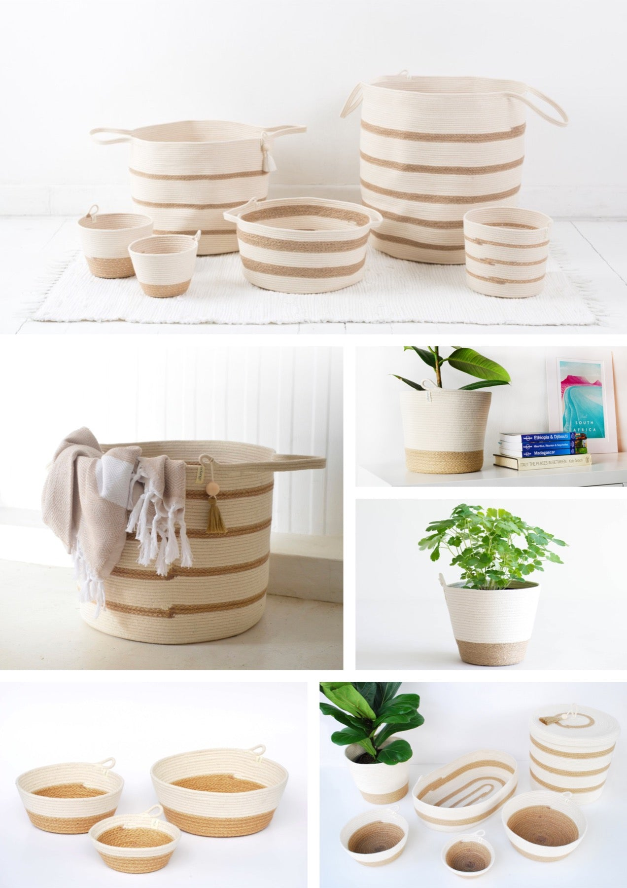 Jute and cotton rope baskets