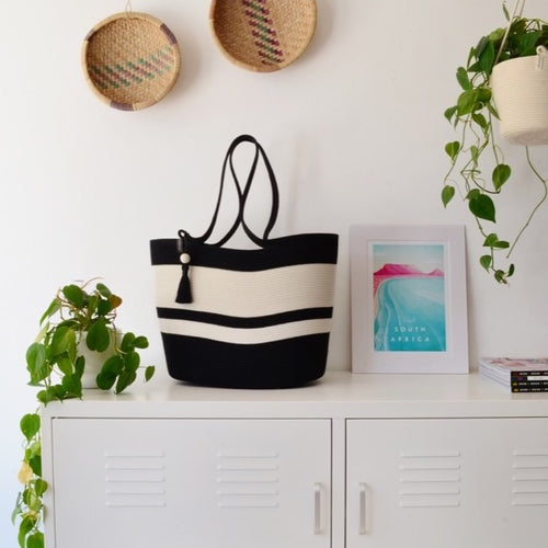 Shopper Bag Black and Ivory