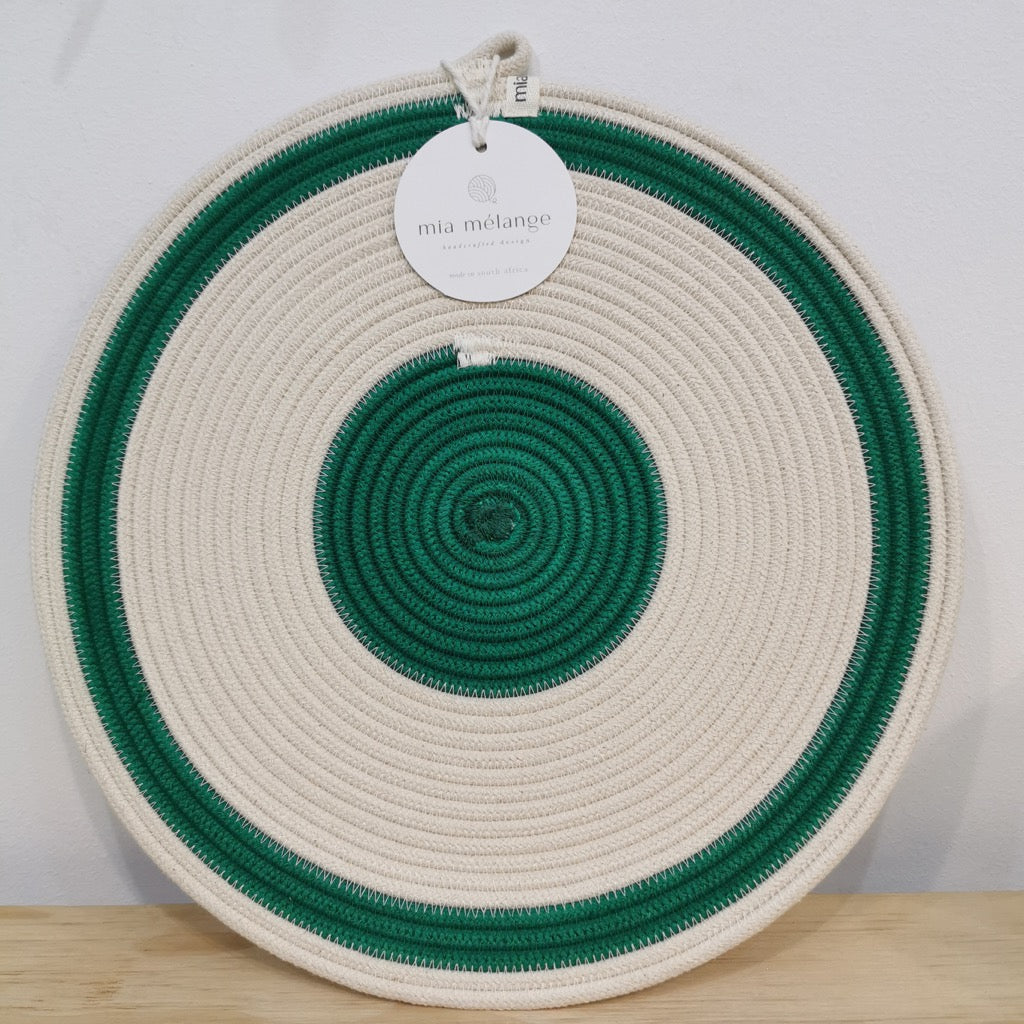Green & Ivory Placemat 1 - SALE