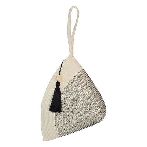 Handle Clutch Bag - Stitched Polka Dot Block