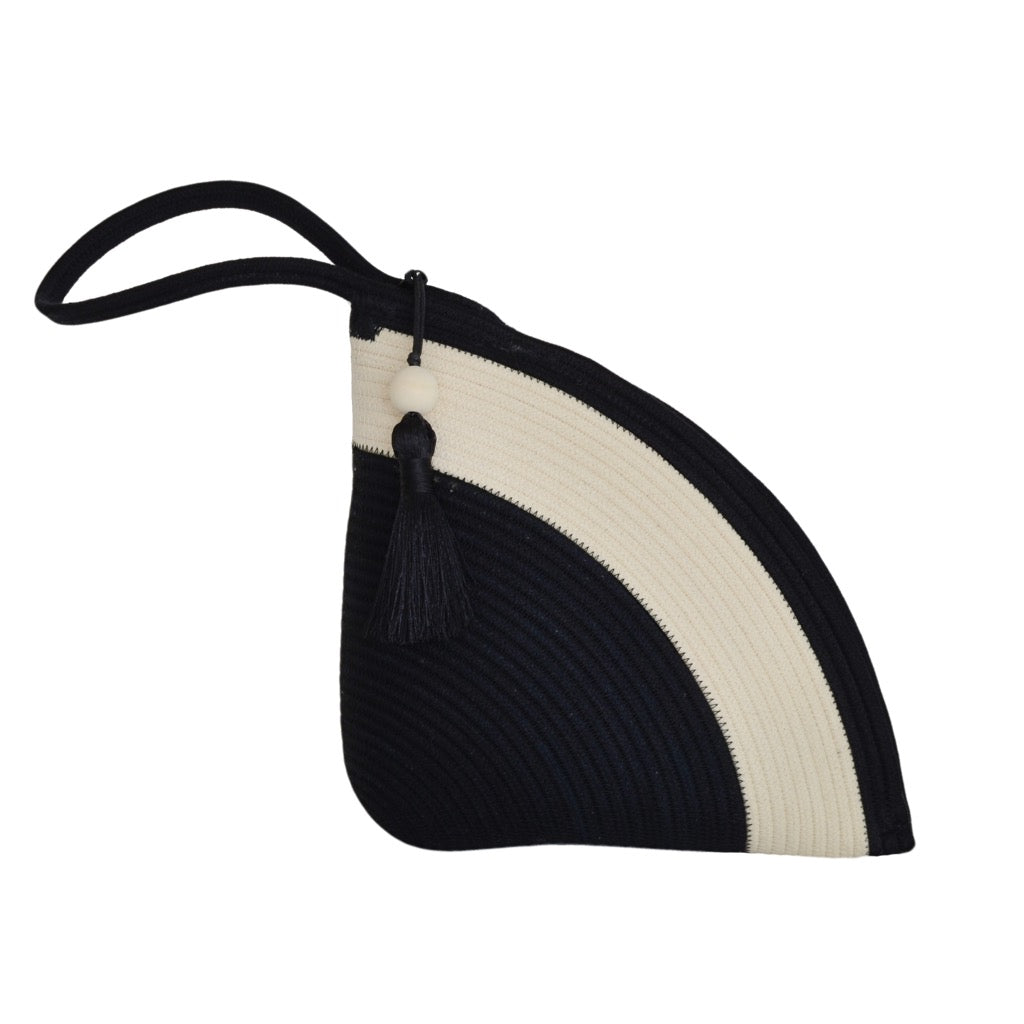 Handle Clutch Bag - Black & Ivory
