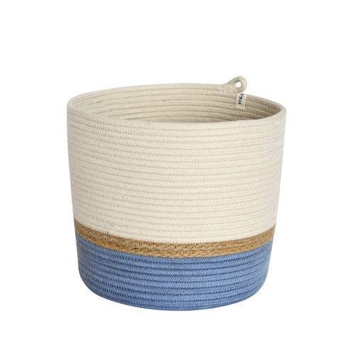 Cylinder Basket Jute & Blue-Grey