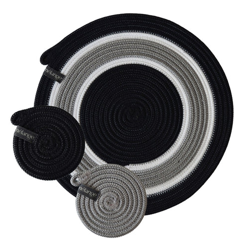 Placemats & Coasters (set of 4 each) - Mbizi Black