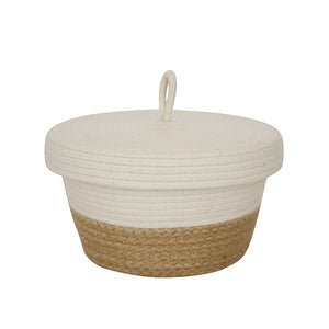 Lidded Bowl Basket - Jute Block