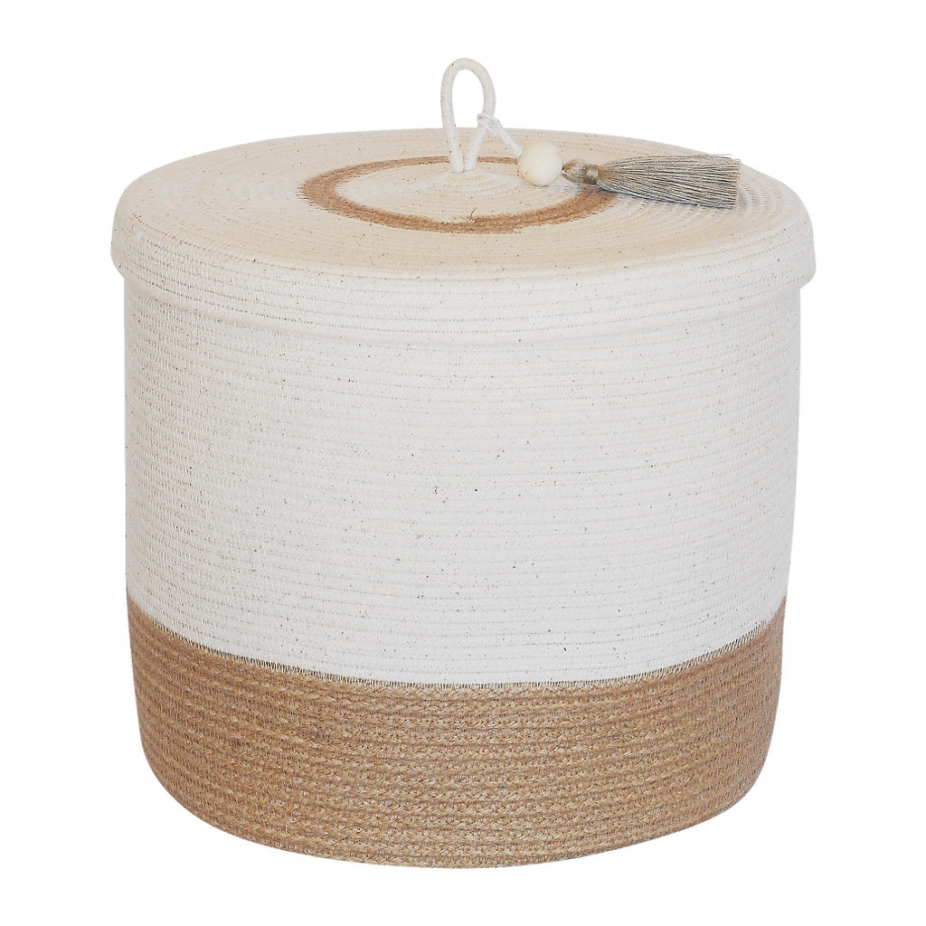 Lidded Cylinder Basket - Jute Block
