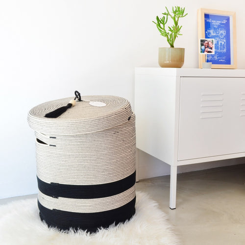 Lidded Laundry Baskets Liquorice  - SALE