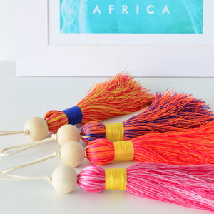 Multicoloured Tassel XL - Pink & Yellow