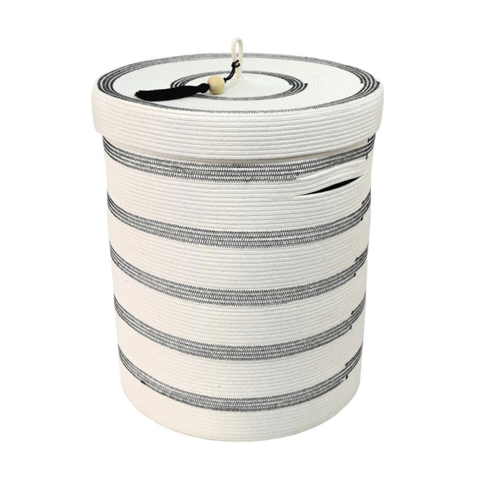 Lidded Laundry Basket - Stitched Striped (assorted colours)
