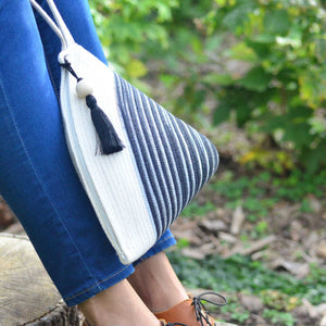 Handle Clutch Bag Ikat Black
