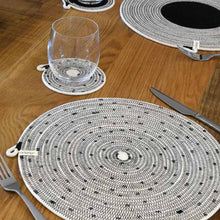 Placemat Stitched Black Mia Melange