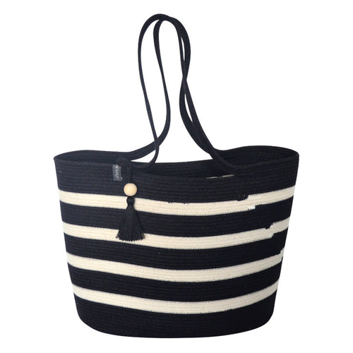 Shopper Bag Black With Ivory Stripes