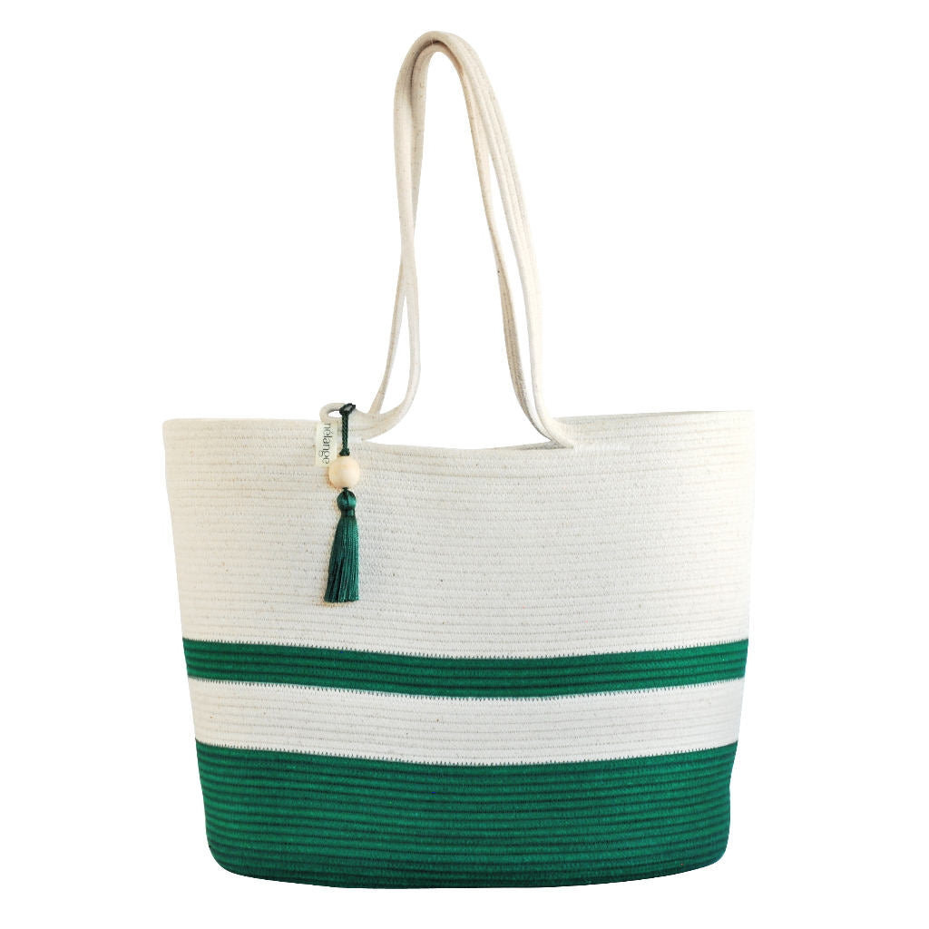 Shopper Bag Green and Ivory