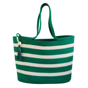 Shopper Bag Green with Ivory Stripes