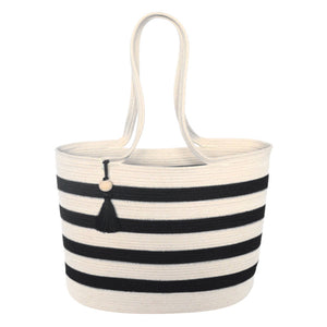Shopper Bag Ivory With Black Stripes