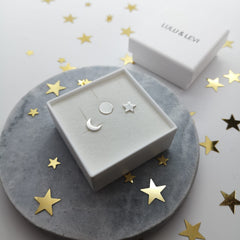 Lulu & Levi sun, moon and stars sterling silver stud earrings