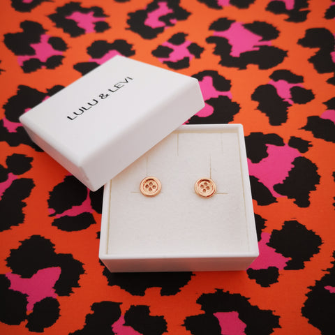Lulu & Levi Rose Gold Button Earrings