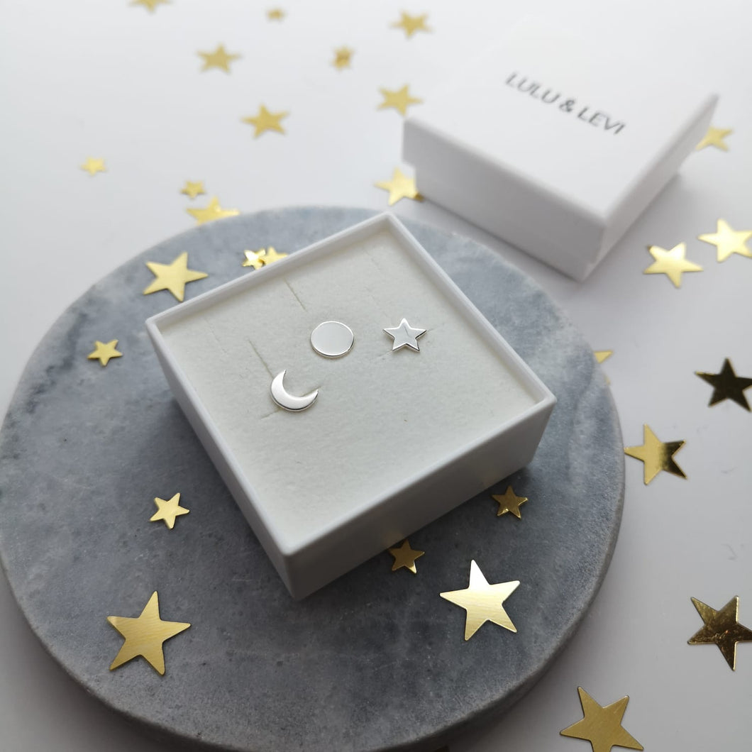 Sun Moon and Stars 3 Earring Stud Set