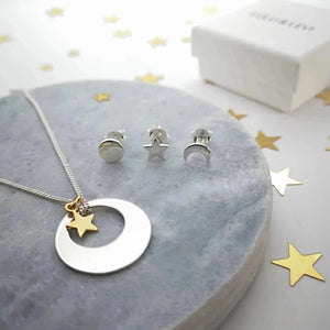Personalised Sun, Moon and Stars Necklace in Sterling Silver with Gold plated Star charm