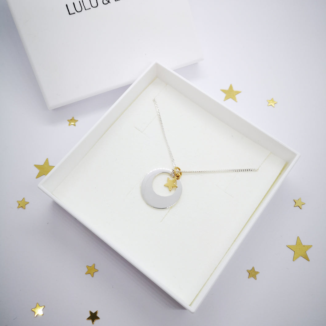 Sun, Moon and Stars, Personalised Necklace