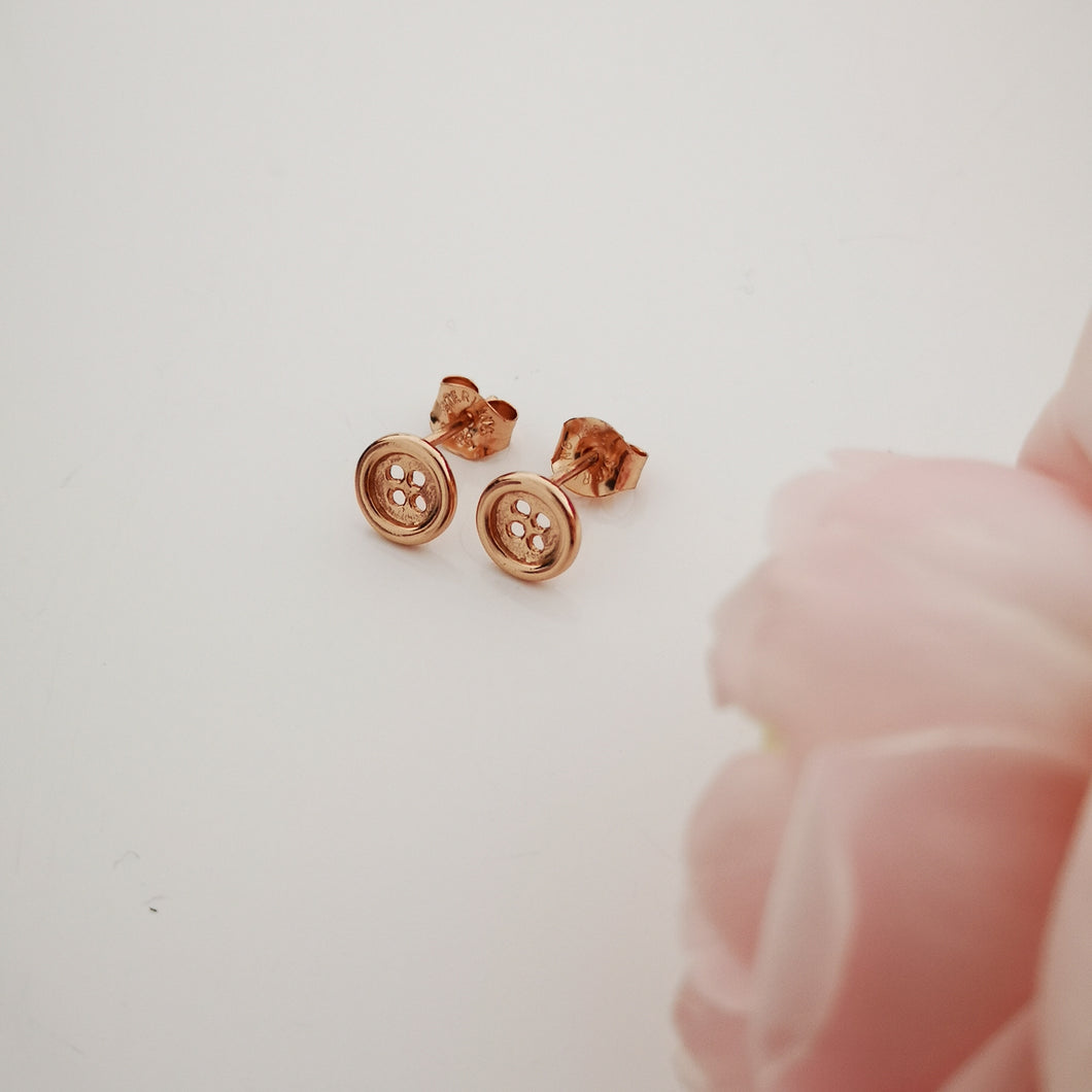 rose gold button earrings,