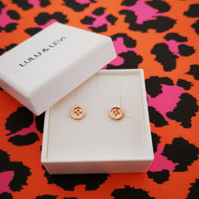 Load image into Gallery viewer, rose gold button earrings