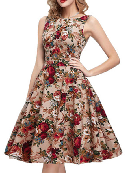 Vintage Floral Print Sleeveless Swing Pleated Dress