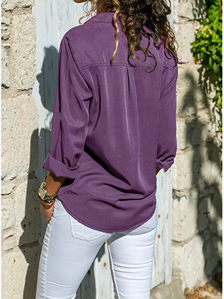 Women's Shirt Lapel Long Sleeve