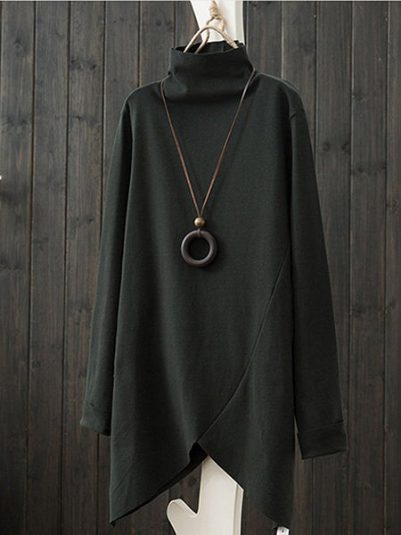 T-Shirt - Solid Paneled Turtle Neck Long Sleeve T-Shirt