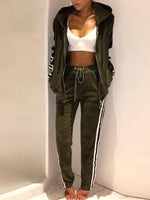 4 Colors Stripes Pockets Basic Sports Two Piece Warm Suits With Hoodie