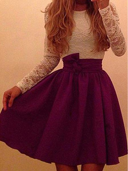 Lace Patchwork Long Sleeves Scoop Women's Dress