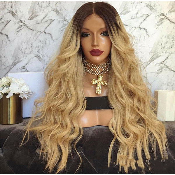 Women Middle Part Natural Ombre Brown Loose Body Wave Hair Wig