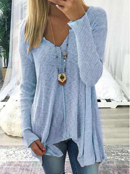 Sweater - Long Sleeve Solid Cotton V Neck Sweater