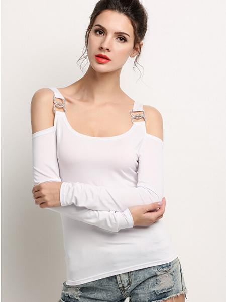 Stylish Ladies Women Solid Off Shoulder Long Sleeve Slim Tops Blouse Shirt