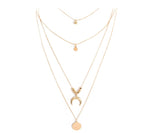 Fashion Multilayer Moon Disc Pendant Necklace