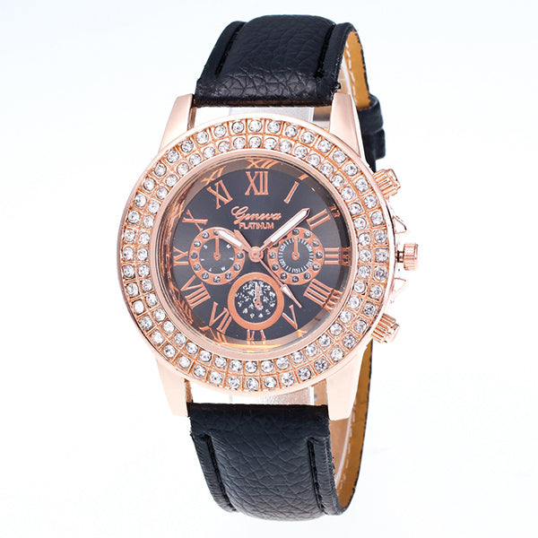 Candy Color Leather Strap Wrist Watch