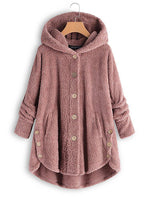 Fleece Hooded Hem Button Teddy Bear Coat