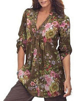 Women's Fashion Vintage Floral Print Casual Single Breasted Shirt