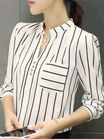 Stripe Blouse Top Long Sleeve Plus Size Women Office Lady Blouse Tops