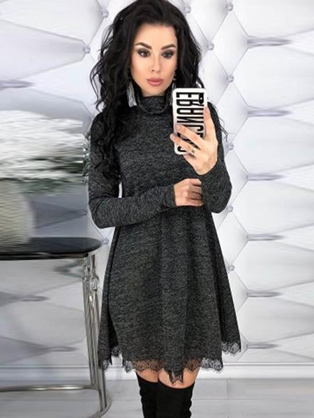 Turtleneck Knee-Length Long Sleeve Pullover Women's Shift Dress