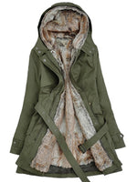 Outerwear-Winter Faux Fur Lining Fur Coats With Belt