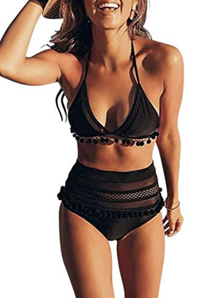 Women's High Waist Two Pieces Bikini Set Padded Stripe Tassel Swimsuit